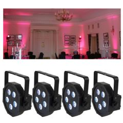 4 x Uplighting Led Par Cans + Remote Control Lighting Package (Hire Cost per Day)